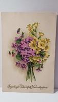 Régi virágos képeslap, üdvözlőlap, levelezőlap 1927