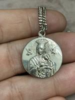 Ezüst Mária medál ezüst láncon