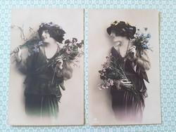Régi női fotó képeslap vintage levelezőlap 2 db