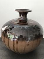 Retro kerámia váza csorgatott mázzal, irizáló fénnyel, 18 cm