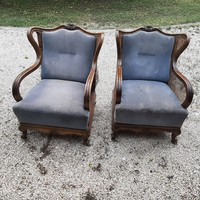 Gyönyörű formájú antik neobarokk rugós fotel  - Akár házhozszállítással