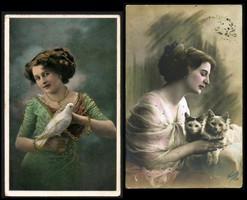 Hölgyek  állatokkal 1912-ből