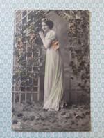 Régi női fotó képeslap 1918 vintage levelezőlap