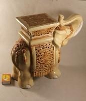 Antik jelzett áttört majolika elefánt 929