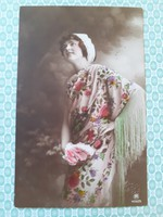 Régi női fotó képeslap vintage levelezőlap K.u.K. bélyegzős