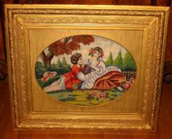 ANTIK NAGYMÉRETŰ KERET GOBELIN KÉPPEL 40 cm x 50 cm