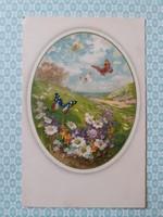 Régi képeslap tavaszi tájképes pillangós virágos medalionos levelezőlap