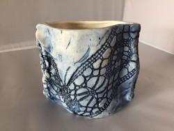 Iparművészeti, jelzett, zsűrizett kerámia váza- art ceramic vase (D1)