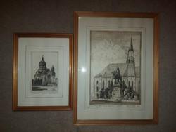 Aranyosi György két aquaforte-tintás nyomata, eredeti keretükben, vastagon jelölve, ahogy szokta...