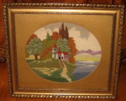 ANTIK NAGYMÉRETŰ KERET GOBELIN KÉPPEL 50 cm x 58 cm