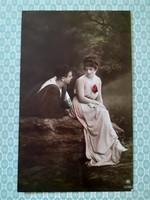 Régi fotó képeslap 1917 szerelmespár vintage levelezőlap