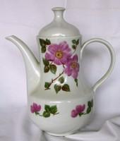 Retró G.D.R. kelet német /Kahla/ virágmintás porcelán teás, kávés kanna, jelzett 25 cm magas.