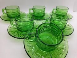 Zöld üveg kávés csészék 6 db