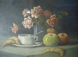 MENKÓ L. jelzéssel : Reggelizős csendélet Végkiárusítás minden festmény -50%