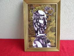 Szász Endre alkotása kerámia lapon, aranyozott keretben.