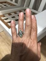 Smaragdos ezüst gyűrű 925 jelzett