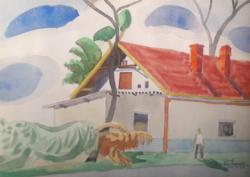 Gerő András: Kecskemét, 2003 - akvarell 30,5x21,5 cm