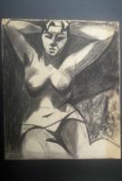 3 DB AKT SZÉNRAJZ, GYÖNYÖRŰ (Gerő András remekművei, 30x24,5) női portré, meztelenség, fekete-fehér