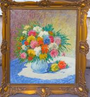 Gy. Riba János (1905-1973) : Virágcsokor kék vázában
