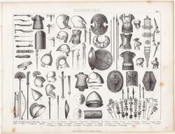 Ókori fegyverek, vértek, egyszín nyomat 1875 (1), német, Brockhaus, eredeti, sisak, kard, pajzs
