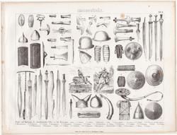 Nyugati népek fegyverei, egyszín nyomat 1875 (6), német, Brockhaus, eredeti, sisak, pajzs, kard