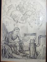 Abonyi Ernő: Miért? c. litográfia