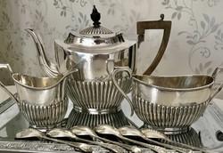 Angol Empire ezüstözött teás készlet, 1 kanna 1 cukros 1 tejkiöntő