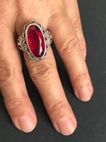 Antik ezüst gyűrű valódi gránát kővel