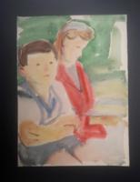 Pituk József (1906-1991) akvarell 39x28,5 cm