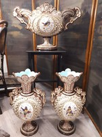 Kézi festésű antik Majolika váza