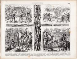 XV. századi katonák, egyszín nyomat 1875 (8), német, Brockhaus, eredeti, angol, francia, spanyol