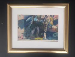 Gerő András: Kirándulás Kithera szigetére - absztrakt festmény üveg alatt, kerettel 34x28 cm