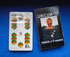 Ritka régi Zwack Unicum Budapest reklám magyar kártya - nem használt - eredeti dobozban