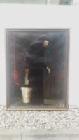 Istvánfy János (1923-) olaj-vászon 80x60 cm, szignózott - fekete ruhás emberalak portréja