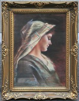 "Hölgy pasztell portréja, ""Kurucsai"" jelzéssel, 1928"