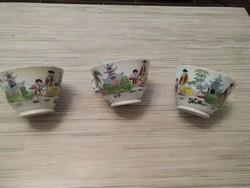 Antik kézzel festett Keleti teás csészék.