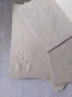 Kézműves, merített levélpapír, boríték