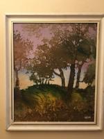 Dallos Ferenc ( 1928-2001 ) őszi hangulati olajfestménye .