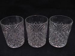 3 db gyémántmintás kristály pohár, mécsestartó egyben