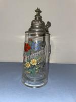 Antik ón fedeles üveg söröskorsó 1 literes