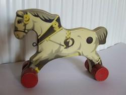 Régi,jelzett Gecevo német gyártmányú fajáték, faló, guruló ló, kerekes lovacska-igazi vintage darab