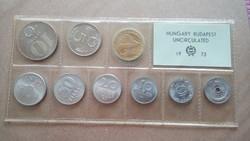 1973-as Magyar Népköztársaság forgalmi sor 2 fillér-10 forint UNC, védőtokban