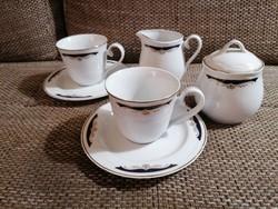 2 személyes teás- vagy kávéskészlet kobalt-arany mintával, elegáns kivitelben, hibátlan állapotban