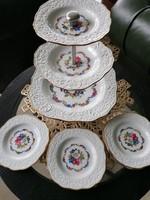 Bavaria süteményes emeletes kínáló, és 5 db kistányér