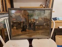Horkay szignós festmény, olaj, karton, 50x70+üvegezett keret