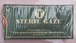 Terla Steril Gaze (gézlap), világháború, bontatlan, celofán egy két helyen szakadt