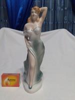 Porcelán hölgy türkiz ruhában - figura, nipp