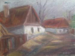 Bruschné Altai Ilona: Szolnok Tabán 1950 körül, pasztell (utcakép, városkép) 40x30 cm