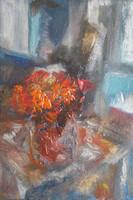 Bájos miniatűr csendélet - pasztózus (olaj-karton 24x16, ismeretlen) virág az ablakban
