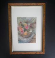 Bruschné Altai Ilona: Csendélet, pasztell (kerettel 33x24 cm)